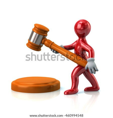 3d illustration of red man with a judge gavel isolated on white background
