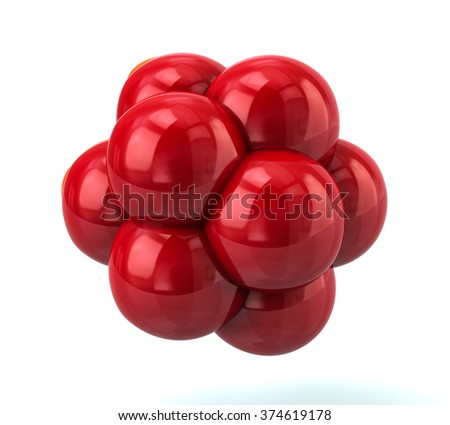 3d illustration of red molecule isolated on white background - stock photo