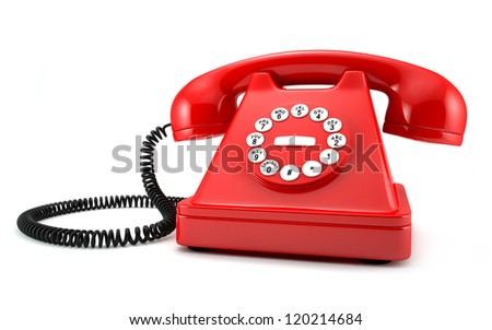 3d illustration of red old-fashioned phone on white background - stock photo