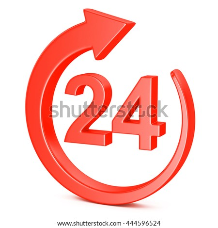 3d illustration of red open 24 hours icon isolated on white background