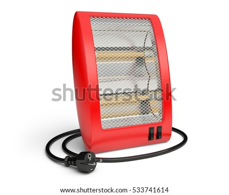 3d Illustration of red Quartz Heater isolated on a white background.