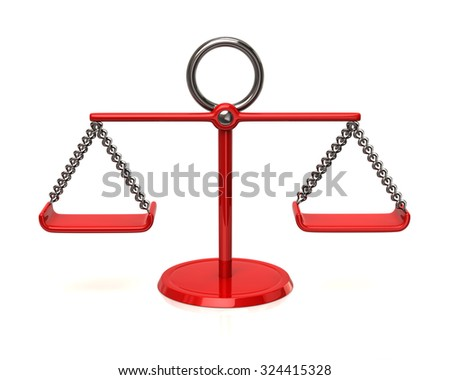 3d illustration of red scales - stock photo