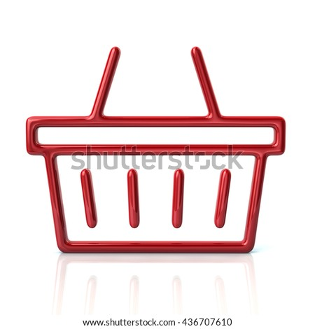 3d illustration of red shopping basket icon isolated on white background - stock photo