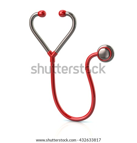 3d illustration of red stethoscope icon isolated on white background