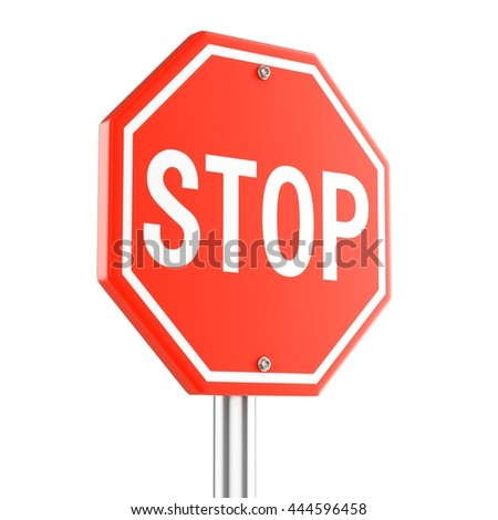 3d illustration of Red Stop Sign
