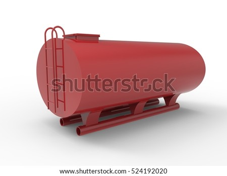 3d illustration of red tanker. white background isolated. icon for game web.