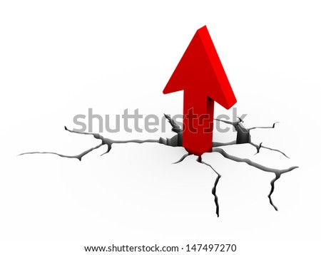 3d illustration of  red upward arrow coming from detailed earth ground crack - stock photo