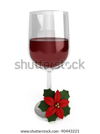3D Illustration of Red Wine Drink with Poinsettia - stock photo