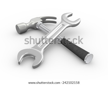 3d illustration of repairing tool claw hammer and wrench