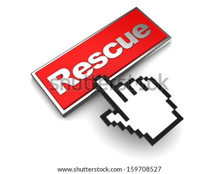 3d illustration of rescue button and mouse cursor