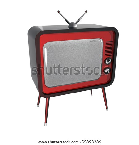 3D illustration of retro TV. Noise on screen.