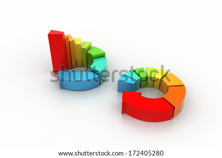 3d illustration of ring colorful business chart