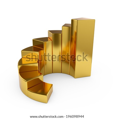 3d illustration of ring golden chart isolated on white background  - stock photo