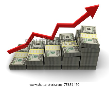 3d illustration of rising money charts, business success concept - stock photo