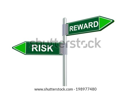 3d illustration of risk and reward road sign. - stock photo