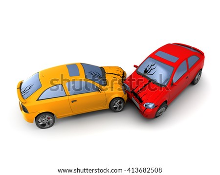 3d illustration of road accident cars crash, over white background - stock photo