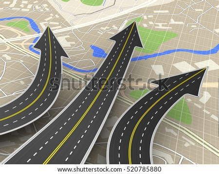 3d illustration of road choice concept over map background