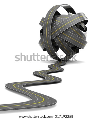 3d illustration of road knot over white - stock photo