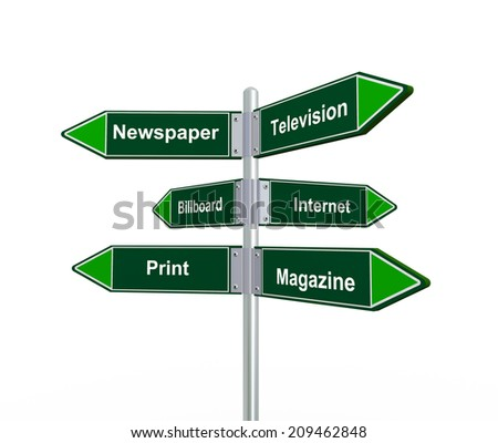 3d illustration of road sign presenting various channel of advertisement - stock photo