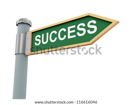 3d illustration of road signs of word success