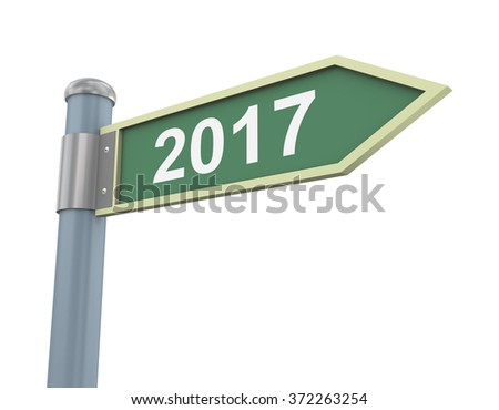 3d illustration of road signs of year 2017 - stock photo