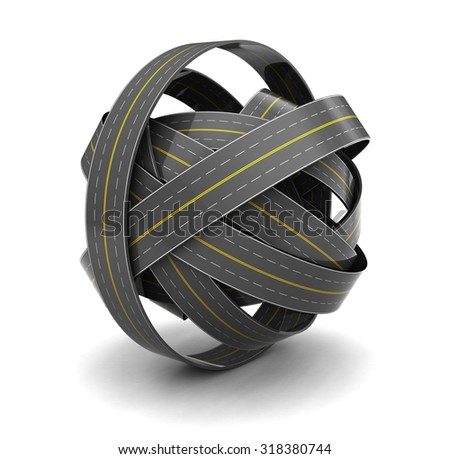 3d illustration of roads knot over white abckground - stock photo