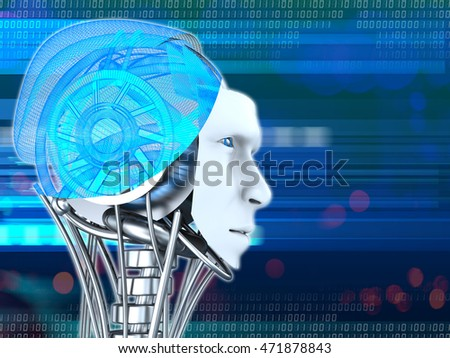 3d illustration of robot head over blue digital background