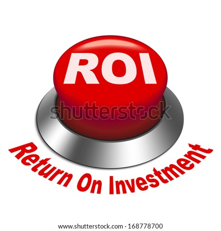 3d illustration of roi (return on investment) button isolated white background - stock photo