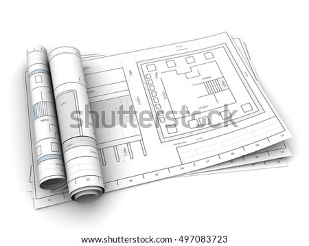 3d illustration of rolled drawings over white background