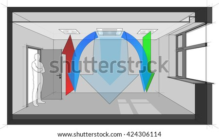3d illustration of room heating and cooling diagram of a room ventilated and cooled by ceiling built-in air ventilation and air conditioning or cooling - stock photo
