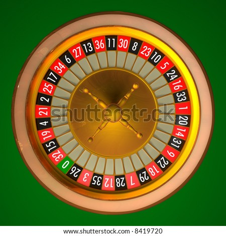 3D illustration of roulette with photo realistic rendering without ball. Clipping path included for easily isolate background, numbers or wheel