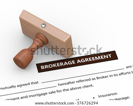3d illustration of rubber stamp on brokerage agreement - stock photo