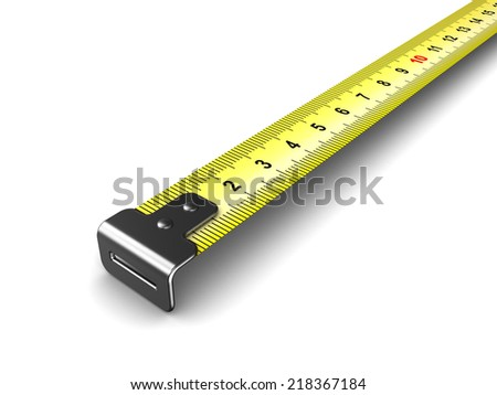 3d illustration of ruler tape, closeup, over white background