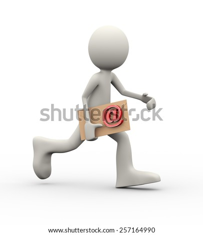 3d illustration of running man holding letter envelope email sign symbol. 3d human person character and white people - stock photo
