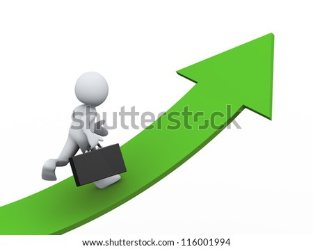 3d Illustration of running man with briefcase on growing green arrow. 3d rendering of human character businessman. - stock photo