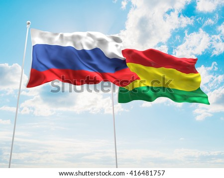 3D illustration of Russia & Bolivia Flags are waving in the sky