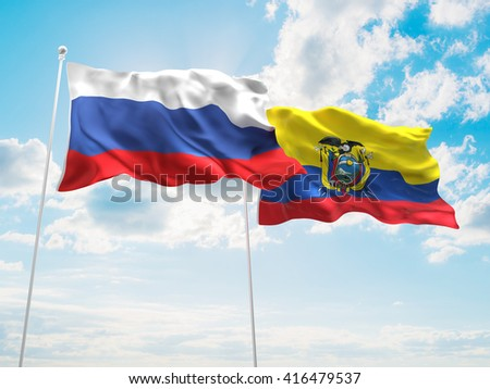 3D illustration of Russia & Ecuador Flags are waving in the sky