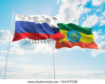 3D illustration of Russia & Ethiopia Flags are waving in the sky - stock photo