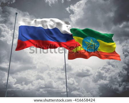 3D illustration of Russia & Ethiopia Flags are waving in the sky with dark clouds  - stock photo