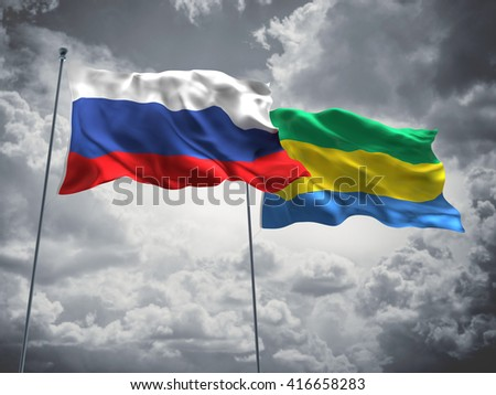 3D illustration of Russia & Gabon Flags are waving in the sky with dark clouds