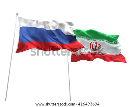 3D illustration of Russia & Iran Flags are waving on the isolated white background - stock photo