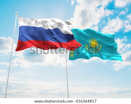 3D illustration of Russia & Kazakhstan Flags are waving in the sky
