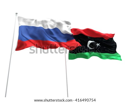 3D illustration of Russia & Libya Flags are waving on the isolated white background - stock photo
