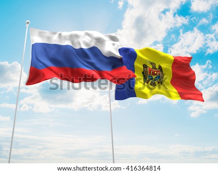 3D illustration of Russia & Moldova Flags are waving in the sky