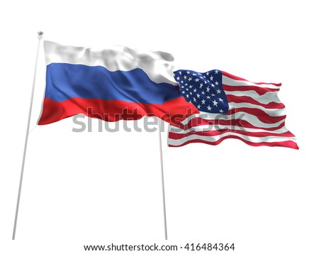 3D illustration of Russia & United States of America Flags are waving on the isolated white background - stock photo
