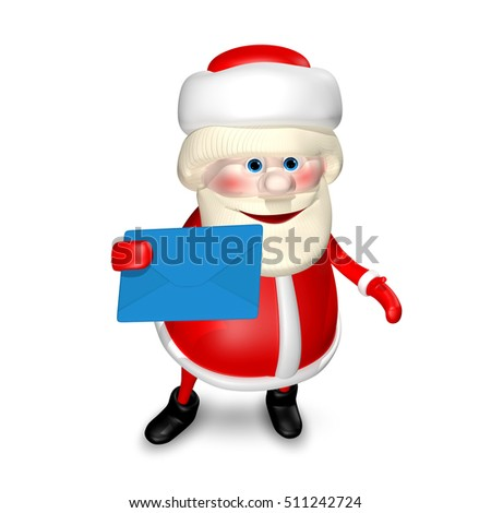 3D Illustration of Santa Claus with Blue Envelope