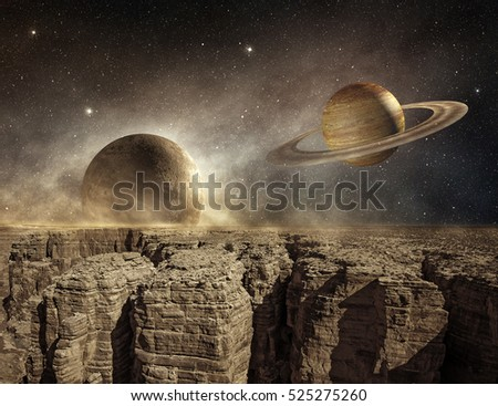 3d illustration of saturn and moon in the sky of a barren landscape