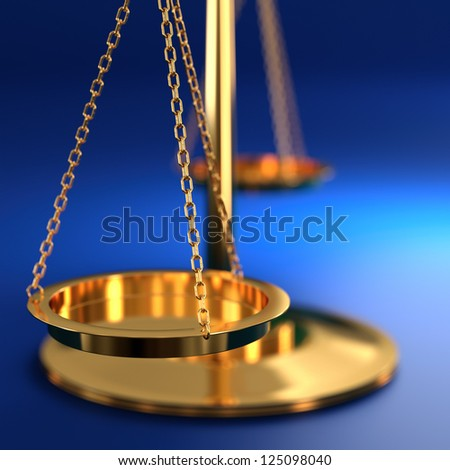 3D illustration of scales of justice on blue background - stock photo