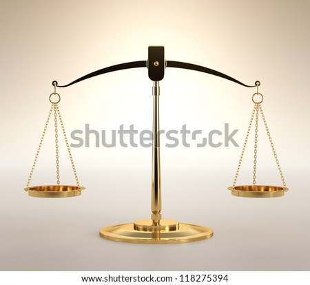 3D illustration of scales of justice on orange background - stock photo