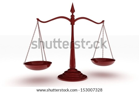 3d illustration of scales on a white background - stock photo